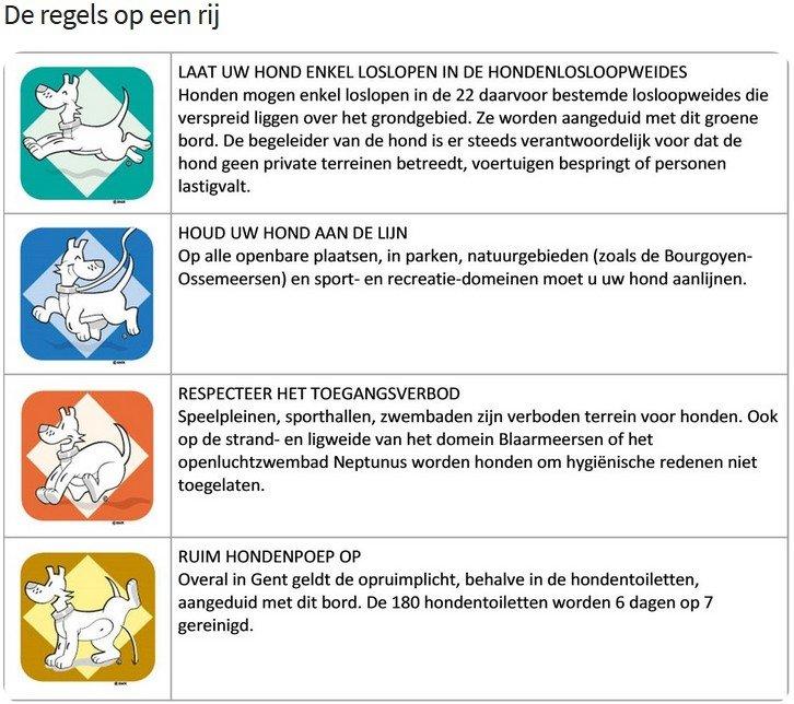 regels honden binnen de stad Gent