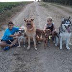 Evelien met kinderen en adoptiehonden